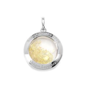 Yellow Sapphire & Optic Quartz Sterling Silver Moments Pendant ATGW 11.61cts
