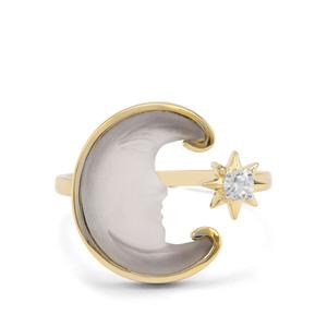 Lehrer Man in the Moon Optic Quartz & White Zircon 9K Gold Ring ATGW 3.76cts