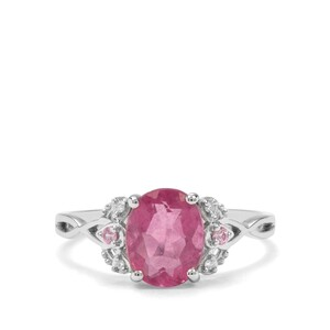 Natural Pink Fluorite, Sakaraha Pink Sapphire & Diamond 9K White Gold Ring ATGW 2.32cts