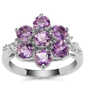 Moroccan Amethyst Ring with White Zircon in Sterling Silver 2.34cts