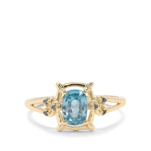 Ratanakiri Blue Zircon & Blue Diamond 9K Gold Ring ATGW 1.47cts