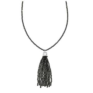 30ct Black Spinel Sterling Silver Bead Necklace