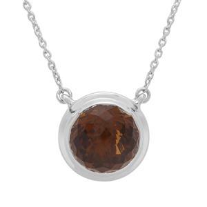 Eden Cut Whisky Quartz Necklace in Britannia Silver 8.17cts