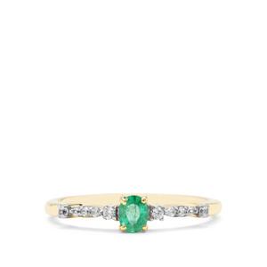 Colombian Emerald & White Zircon 9K Gold Ring ATGW 0.36ct