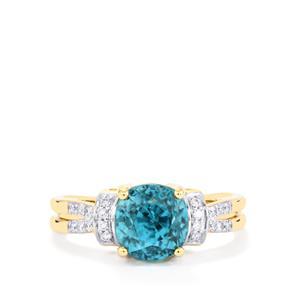 Ratanakiri Blue Zircon Ring with White Diamond in 18K Gold 5.08cts