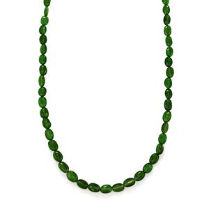 Chrome Diopside Bead Necklace in Sterling Silver 56cts