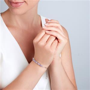 Rose du Moroc Amethyst Silder Bracelet in Sterling Silver 5cts