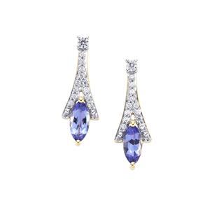 AA Tanzanite Earrings with White Zircon in 9K Gold 1ct
