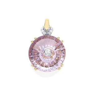 Lehrer TorusRing Rose De France Amethyst Pendant with Diamond in 10K Gold 4.32cts