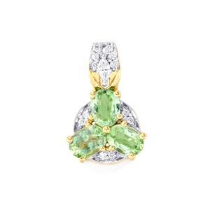 Paraiba Tourmaline Pendant with Diamond in 18K Gold 1.25cts