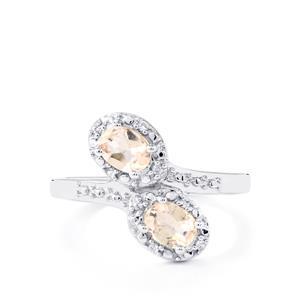 Mutala Morganite & White Topaz Sterling Silver Ring ATGW 0.67cts
