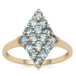 Nigerian Aquamarine Ring in 9K Gold 1cts