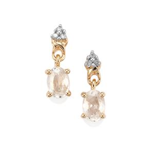 Singida Tanzanian Zircon Earrings with Diamond in 9K Gold 1.66cts