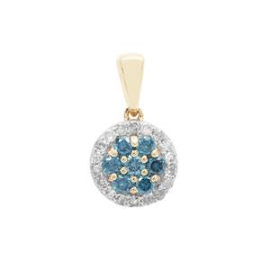 Blue Diamond Pendant with White Diamond in 9K Gold 0.35ct