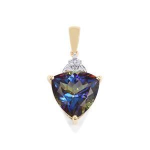 Mystic Blue Topaz Pendant with Diamond in 10K Gold 8.85cts