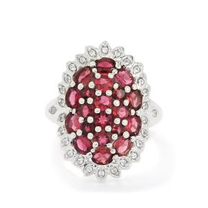 Pink Tourmaline & White Topaz Sterling Silver Ring ATGW 2.93cts