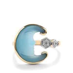 Lehrer Man in the Moon Blue Chalcedony & Diamond 9K Gold Ring ATGW 3.55cts