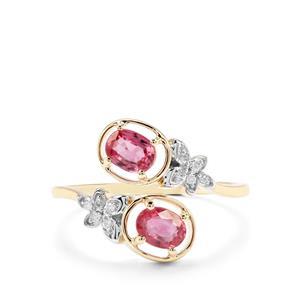 Padparadscha Sapphire & Diamond 9K Gold Ring ATGW 0.98cts