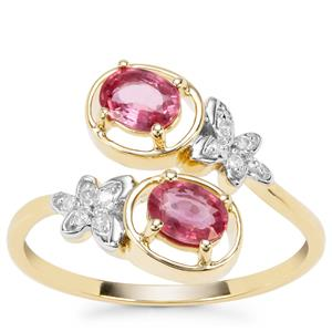 Padparadscha Sapphire Ring with Diamond in 9K Gold 0.98cts