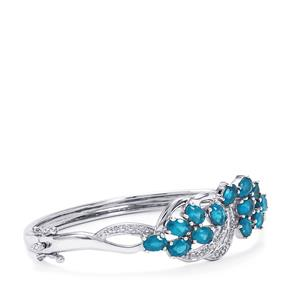 Neon Apatite Oval Bangle with Diamond in Sterling Silver 5.88cts