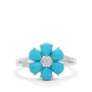 Sleeping Beauty Turquoise Ring with White Zircon in Sterling Silver 1.85cts