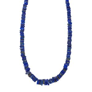 140ct Lapis Lazuli Sterling Silver Graduated Bead Necklace