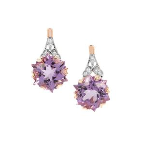 Wobito Snowflake Cut Ametista Amethyst Earrings with Diamond in 9K Rose Gold 4.32cts