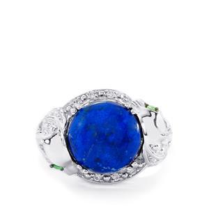 Sar-i-Sang Lapis Lazuli, Tsavorite Garnet & White Zircon Sterling Silver Tendwa Ring ATGW 6.89cts