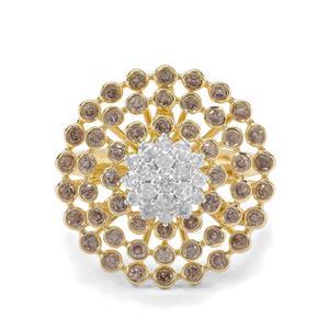 1.22ct White & Champagne Diamond 9K Gold Ring