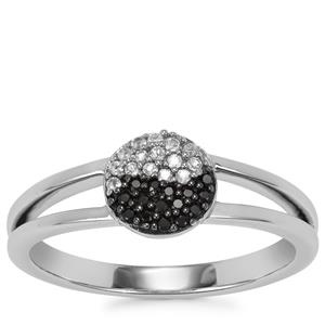 Black Spinel Yin Yang Ring with White Topaz in Sterling Silver 0.17ct