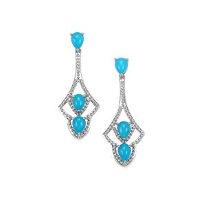 3.73ct Sleeping Beauty Turquoise Platinum Plated Sterling Silver Earrings