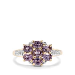 Mahenge Purple Spinel & Diamond 9K Gold Ring ATGW 1.41cts