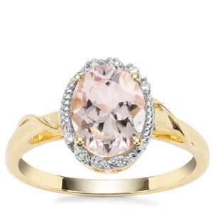 Alto Ligonha Morganite Ring with White Zircon in 9K Gold 1.70cts