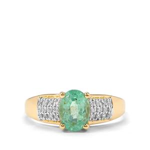Ethiopian Emerald Ring with Diamond in 18K Gold 1.25ct