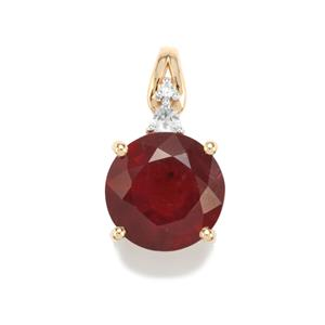 Malagasy Ruby Pendant with White Zircon in 9K Gold 8.09cts