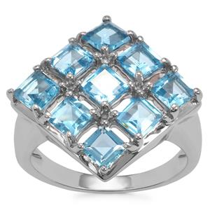 Swiss Blue Topaz Ring in Sterling Silver 3.64cts
