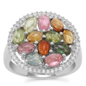 Pederneira Multi-Colour Tourmaline Ring with White Zircon in Sterling Silver 3.46cts