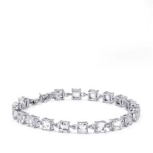 16.69ct White Topaz Sterling Silver Asscher Cut Bracelet