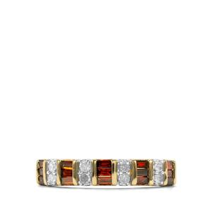 Red Diamond Ring with White Diamond in 10K Gold 0.50ct