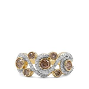 Champagne Diamond Ring with White Diamond in 9K Gold 1.04cts