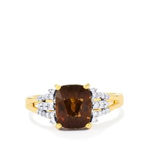 Bekily Color Change Garnet Ring with Diamond in 18k Gold 4.10cts