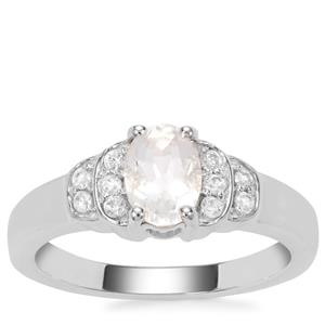 Itinga Petalite Ring with White Zircon in Sterling Silver 0.80ct