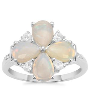 Coober Pedy Opal Ring with White Zircon in Sterling Silver 1.98cts