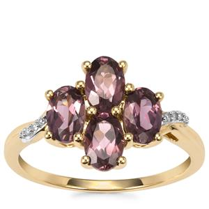 Mahenge Purple Spinel Ring with Diamond in 10K Gold 1.92cts