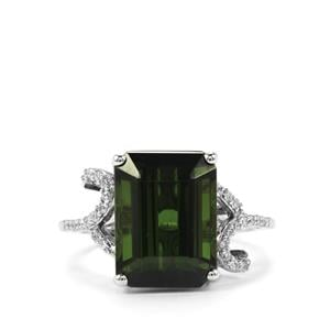 Green Tourmaline Ring with Diamond in 18K White Gold 7.84cts