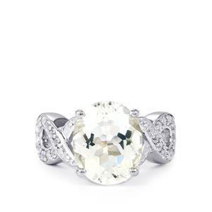 Itinga Petalite & White Topaz Sterling Silver Ring ATGW 4.33cts