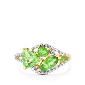 Paraiba Tourmaline & Diamond 10K Gold Ring ATGW 1.09cts