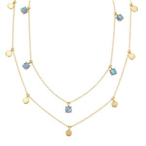 Blue Moonstone Necklace in Vermeil 4.20cts