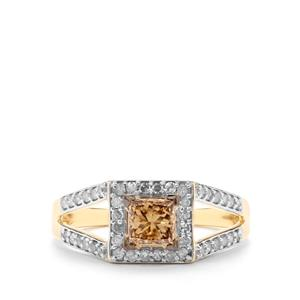 3/4ct Champagne & White Diamond 9K Gold Tomas Rae Ring