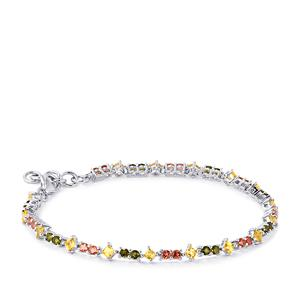 3.65ct Chrome, Pink & Yellow Tourmaline Sterling Silver Bracelet